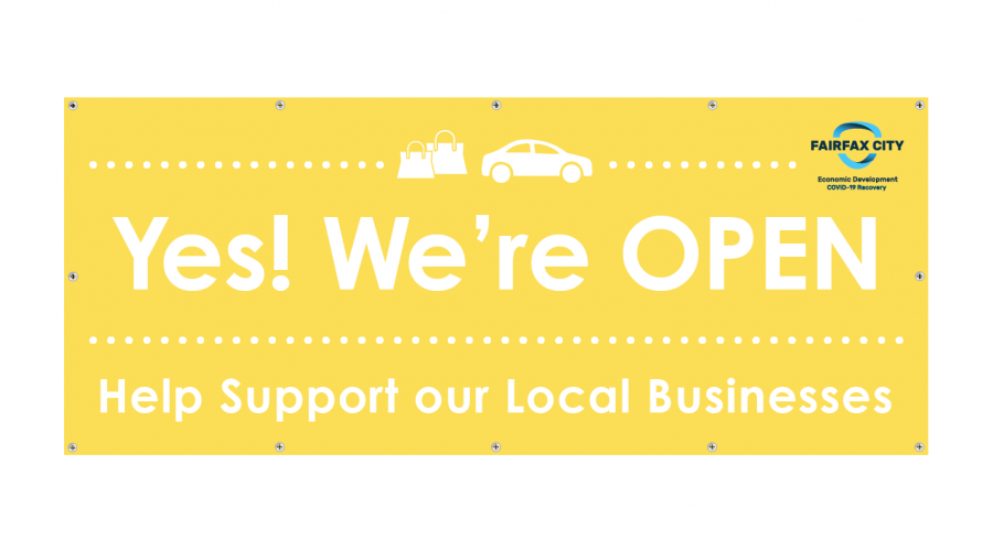 """Fairfax City """"Yes! We're OPEN"""" Banners"""
